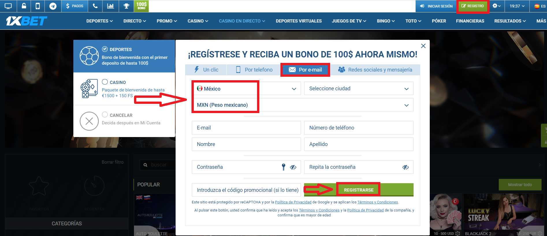 ¿Es posible 1xBet España register?